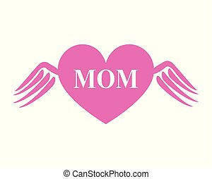 Mom Heart With Wings