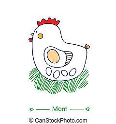 future mother. white hen incubates the eggs. vector illustration