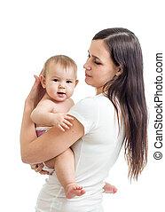 mom holding baby isolated on white