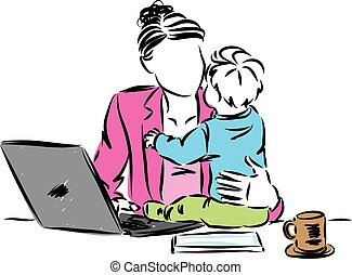 mom in front laptop working from home with baby vector illustration