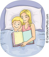 Mom Kid Boy Bed Sleep Book