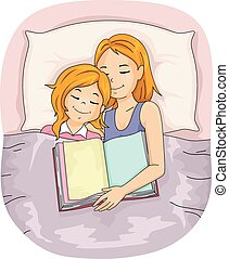 Mom Kid Girl Bed Sleep Book - Illustration of a Mother Who ...