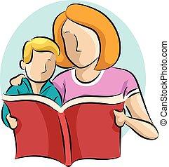 Mom Kid Read Book