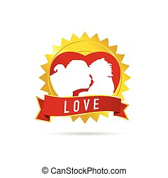 mom kissing child illustration in ribbon gold