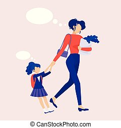 Mom leads the child to school. Be late. Troubles, everyday women. Anxiety. Shopping with a child