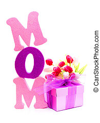 Mom letters with gift and flowers