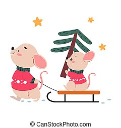Mom Mouse Sledding her Baby with Spruce Tree, Xmas Animal Cartoon Character, Merry Christmas and Happy New Year Vector Illustration