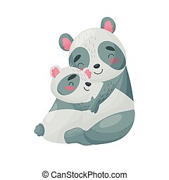 Mom panda and cub. Vector illustration on white background.