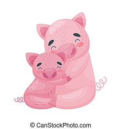 Mom pig with her baby. Vector illustration on white background.