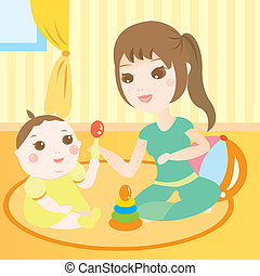 mom playing toys with baby