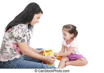 Mom plays with her daughter