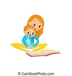 Mom reading a book to her baby, family, early development concept vector Illustration on a white background