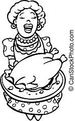 Mom serving turkey line art - Mom serving turkey isolated on...