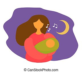 Mom sings to her child. Cartoon. Vector illustration.