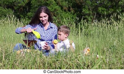mom son eat at a picnic in the forest