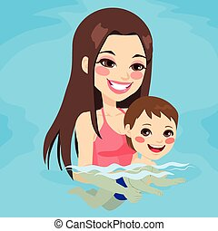 Mom Teaching Baby Boy Swimming - Beautiful brunette mom at...