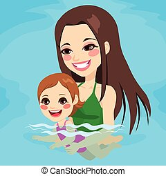 Mom Teaching Baby Girl Swimming - Beautiful brunette mom at...