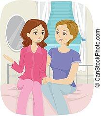 Mom Teen Girl Talk Bedroom