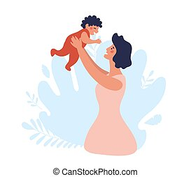 Mom throws the baby up. Happy family on a blue background. Mother with a baby in her arms. Flat vector illustration. Cartoon design.