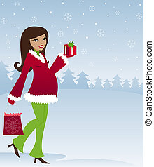 Mom To Be - Winter - Mom-to-be in winter attire with holiday...