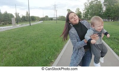 Mom with a baby in her arms
