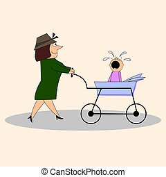 Mom with a crying child in a stroller.