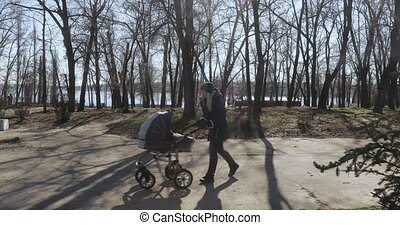 Mom with a stroller in the park