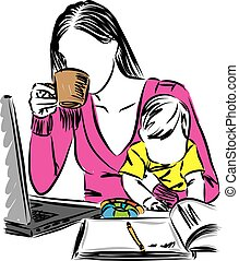 mom with baby and drinking coffee working from home vector illustration
