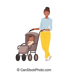 Mom with baby in pram character Illustration Vector