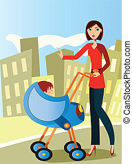 mom with baby stroller - the ilustracion is about a mom...