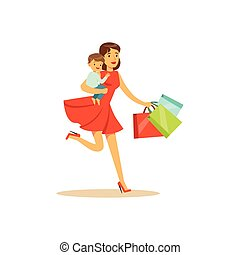 Mom with child, running with shopping bags