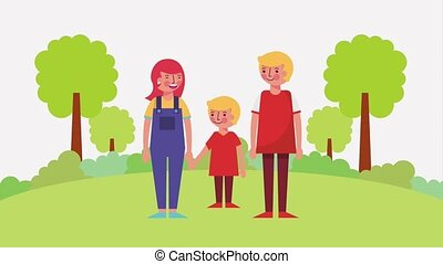 mom with childs holding hands in park
