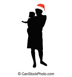 mom with christmas hat and daughter vector