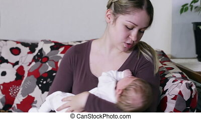 Mom with crying baby