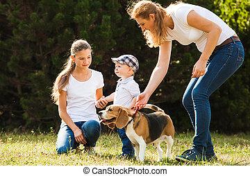 Mom with kids on a walk