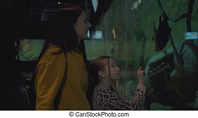 mom with little girl at oceanarium looking at fish.