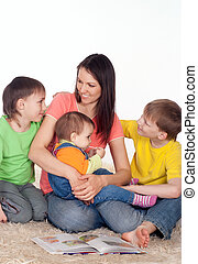 mom with sons and daughter