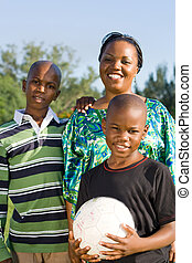 mom with football loving sons
