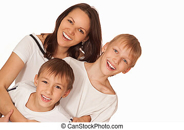 mom with two boys