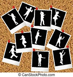 moment, hangen, kurk, foto's, silhouettes, plank, pushpins, kinderen
