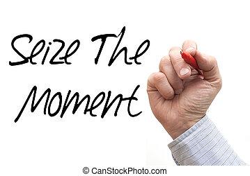 """moment"""", mão, """"seize, escrita"""
