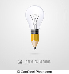 Moment of creation - Lead pencil with light bulb on its top....