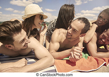 momente, lustiges, während, sommer