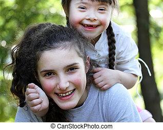 momenti famiglia, -, possedere, sorelle, fun., felice