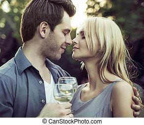momento, antes, el, romántico, beso