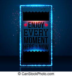momento, now., motivando, godere, ogni, image., vettore, ...
