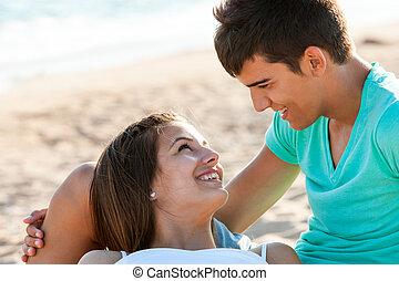 momento, praia., romanticos