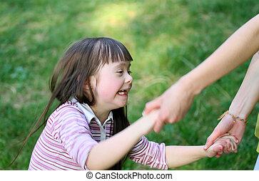 momentos familiares, criança, -, ter, mãe, fun., feliz