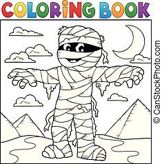 momie, coloration, thème, 2, livre