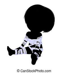 momie, peu, silhouette, girl, illustration